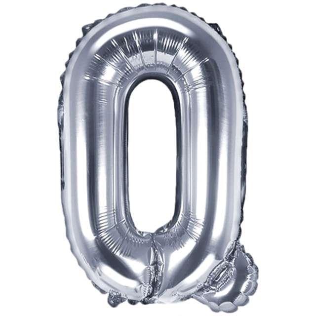 "Balon foliowy litera Q, 14"", PartyDeco, srebrny"