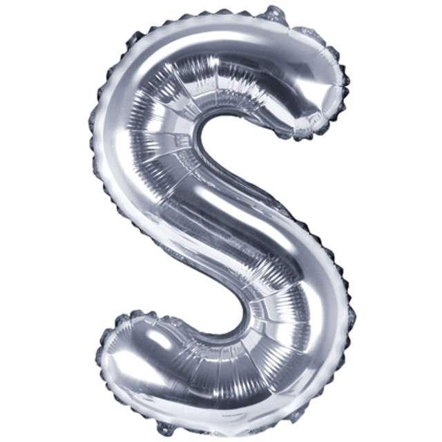 "Balon foliowy litera S, 14"", PartyDeco, srebrny"