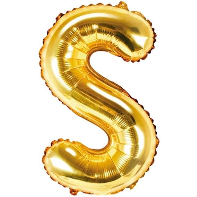 """Balon foliowy litera S, 14"""", PartyDeco, złoty"""