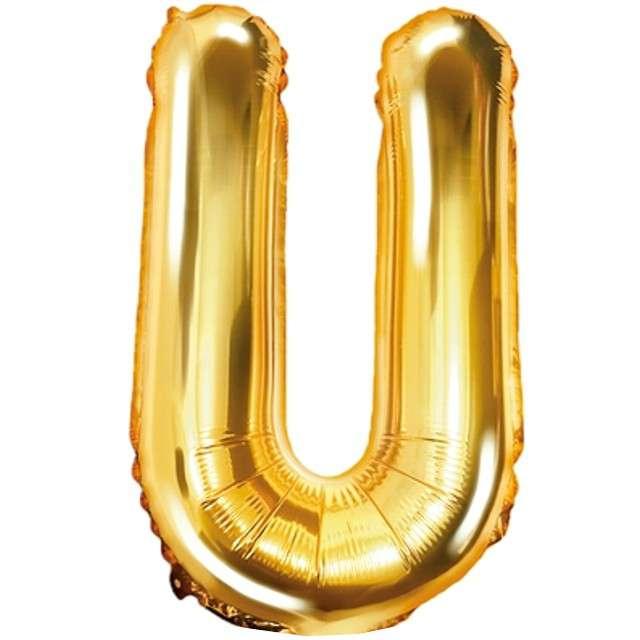 """Balon foliowy litera U, 14"""", PartyDeco, złoty"""