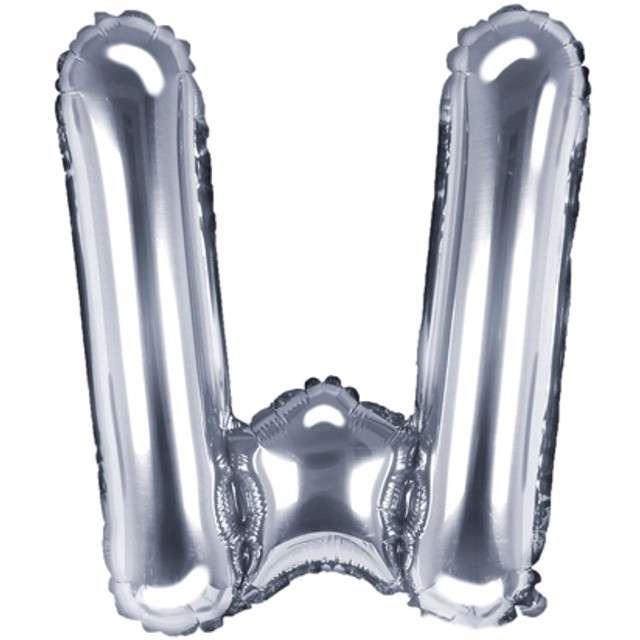 """Balon foliowy litera W, 14"""", PartyDeco, srebrny"""