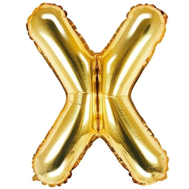"""Balon foliowy litera X, 14"""", PartyDeco, złoty"""