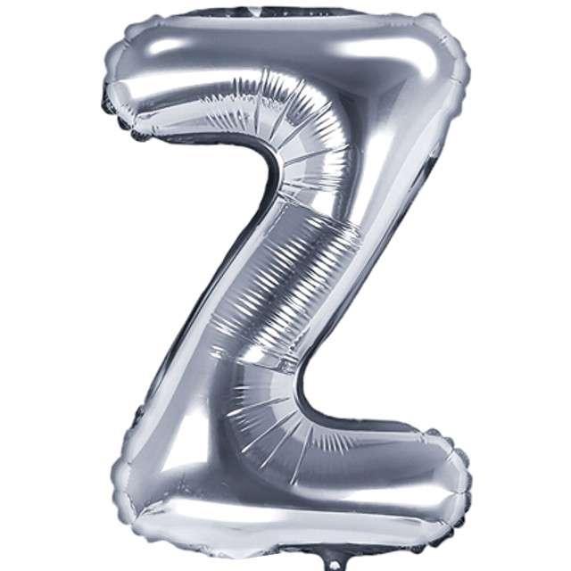 "Balon foliowy litera Z, 14"", PartyDeco, srebrny"