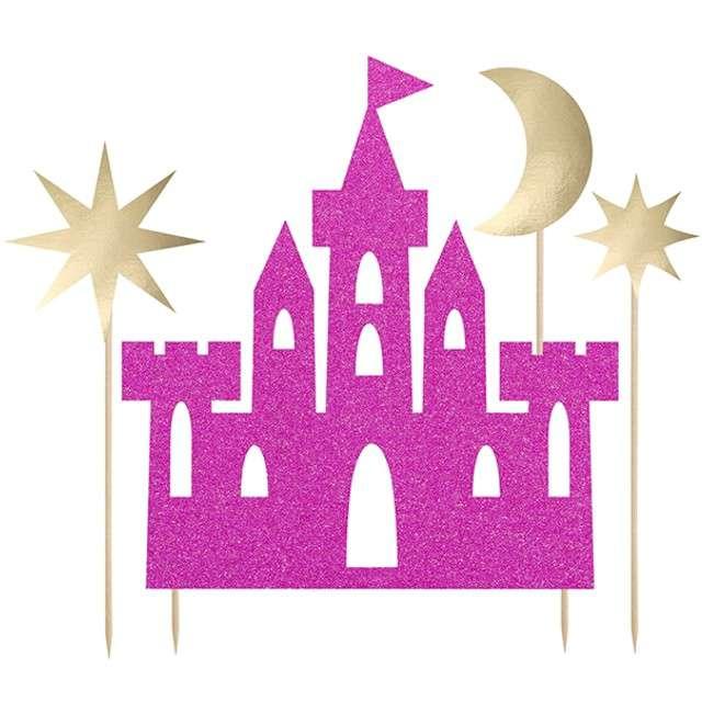 """Dekoracja na tort """"Princess - Zamek"""", PartyDeco, 17 - 21,5 cm, 4 szt"""