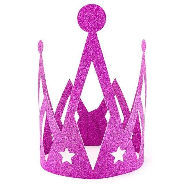 """Korona party """"Księżniczka - Princess"""", papierowa, różowa brokatowa, 1 szt"""