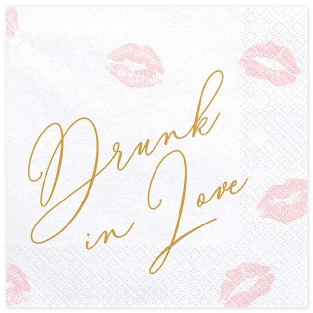 """Serwetki """"Drunk in Love"""", białe, 33 cm, 20 szt"""