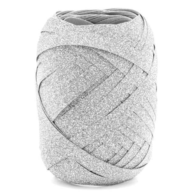 Wstążka do balonów, brokatowa, srebrna, 0,5 cm x 10 m