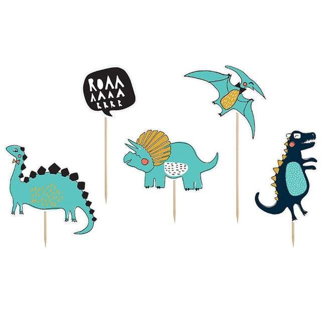 """Dekoracja na tort """"Dinozaury"""", PartyDeco, 10,5 - 20 cm, 5 szt"""