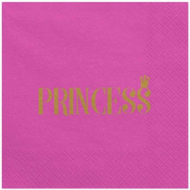 "Serwetki ""PRINCESS"", różowe, 33 cm, 20 szt"