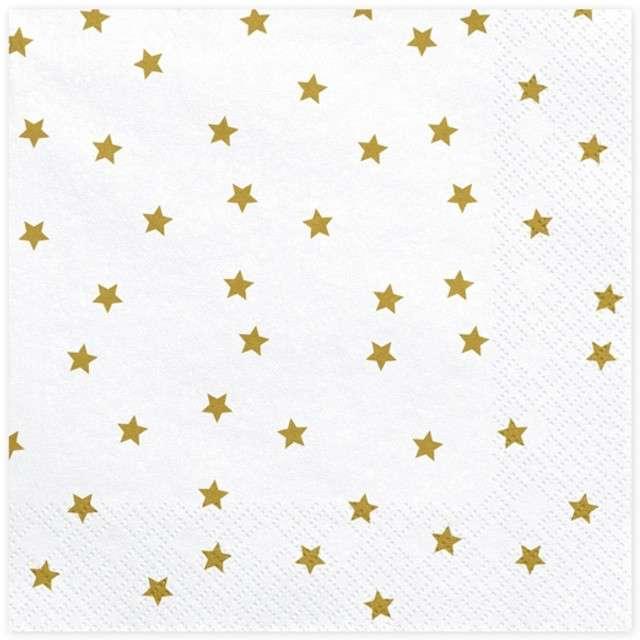"""Serwetki """"Złote Gwiazdki"""", białe, PartyDeco, 33 cm, 20 szt"""