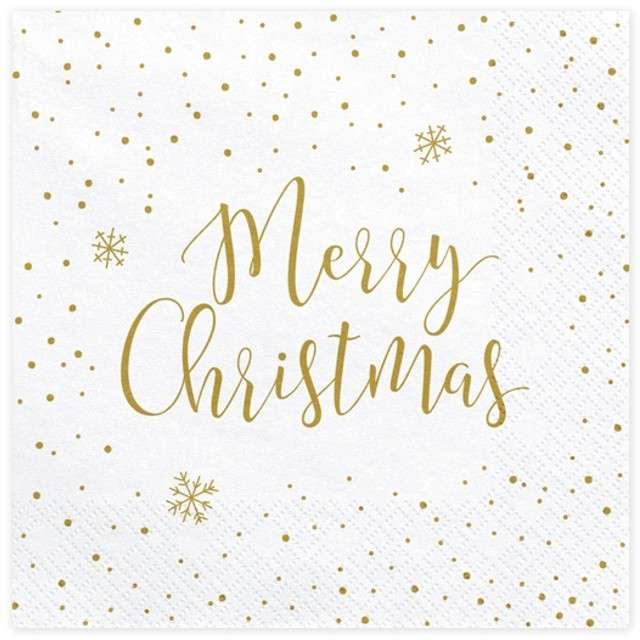 """Serwetki """"Merry Christmas"""", białe, 33 cm, 20 szt"""