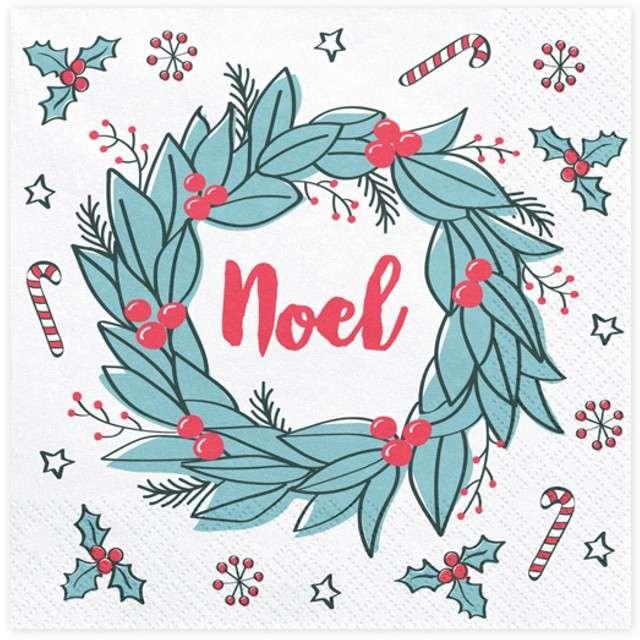 """Serwetki """"Noel"""", białe, 33 cm, 20 szt"""