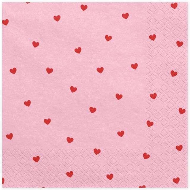 """Serwetki """"Czerwone Serca"""", różowe, 33 cm, 20 szt"""