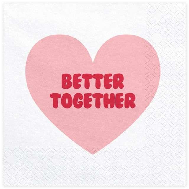 """Serwetki """"Serce - Better Together"""", białe, 33 cm, 20 szt"""