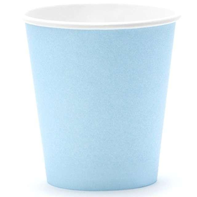 """Kubeczki papierowe """"Classic"""", błękitne jasne, PartyDeco, 180 ml, 6 szt"""