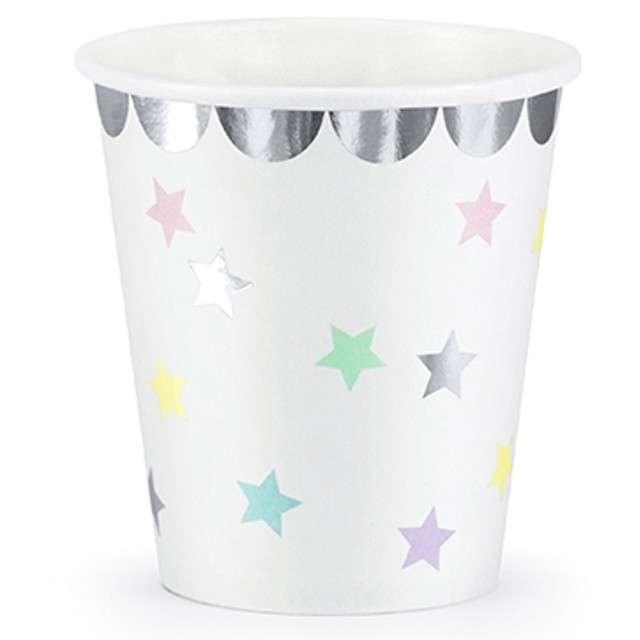 """Kubeczki papierowe """"Jednorożec - Gwiazdki"""", białe, PartyDeco, 180 ml, 6 szt"""