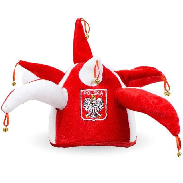 """Czapka Kibica """"Dzwoneczki"""", biało-czerwona, GODAN"""