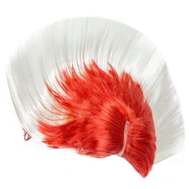 """Peruka party """"Irokez Kibica"""", biało-czerwona, GODAN"""
