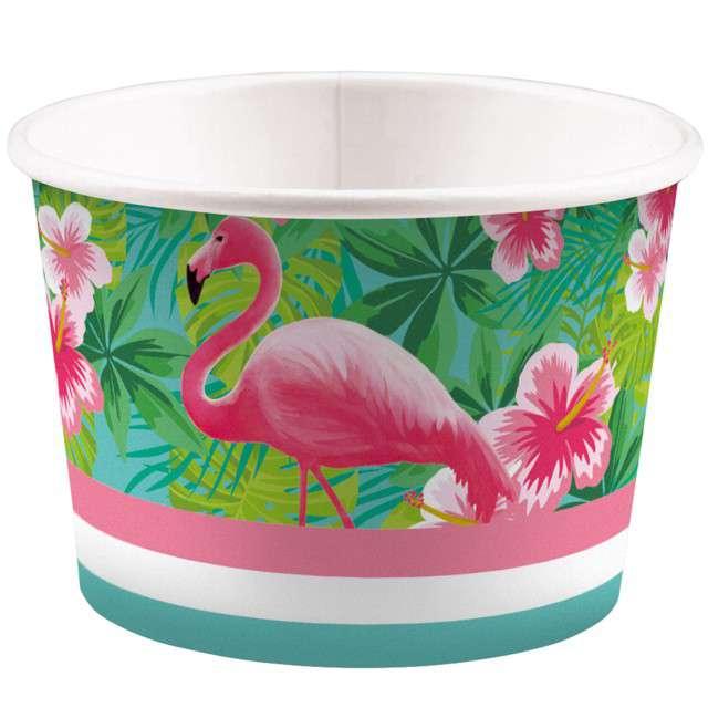 """Kubeczki do lodów """"Flamingo Paradise"""", AMSCAN, 270 ml, 8 szt"""