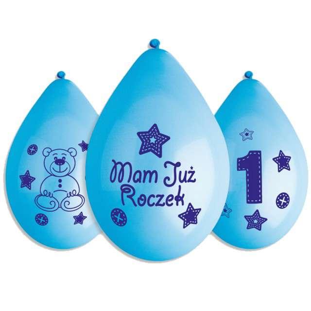 """Balony 12"""", """"Mam już Roczek - wiszące"""", niebieskie, GEMAR, 5 szt"""