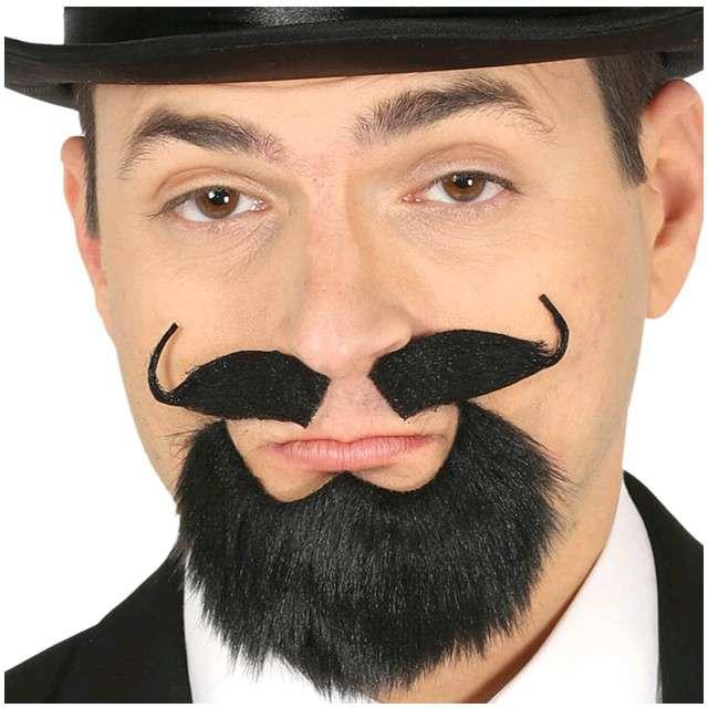 """Wąsy party """"Bródka z wąsami"""", czarny, GUIRCA"""
