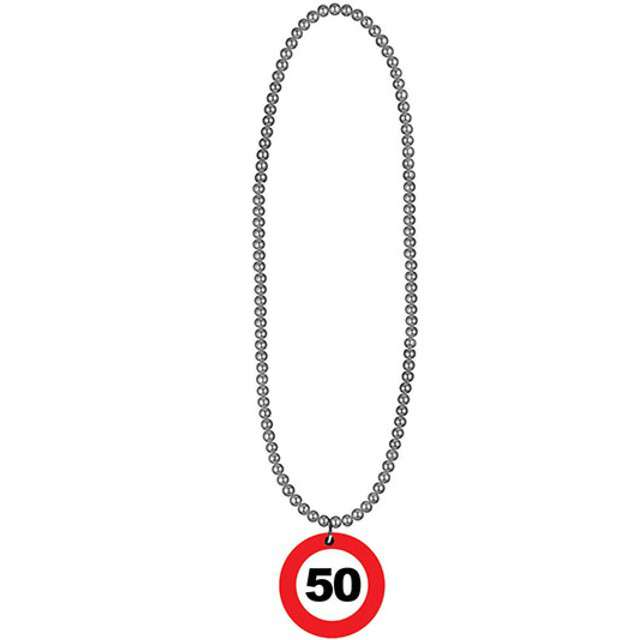 "Naszyjnik ""50 Traffic Birthday"", FunnyFashion, 80 cm"