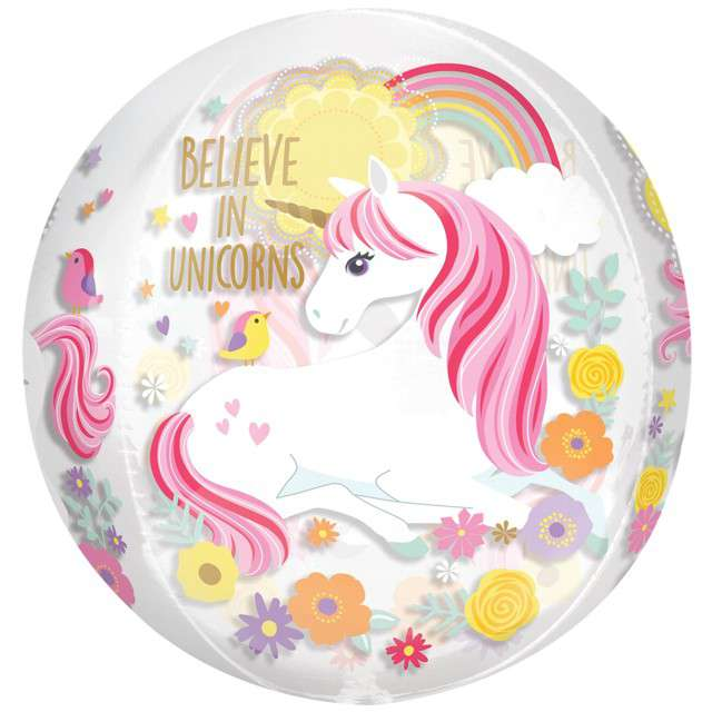 "Balon foliowy ""Jednorożec - Believe in Unicorns"", Amscan orbz, 16"" ORB"