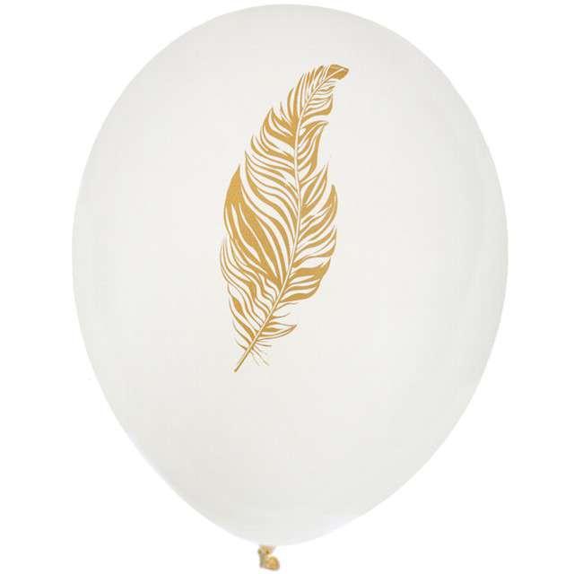 """Balony """"Złote Piórko"""", biały, SANTEX, 9"""", 8 szt"""