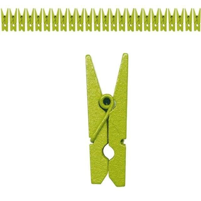 Klamerki drewniane 2,5 cm, zielone, SANTEX, 24 szt