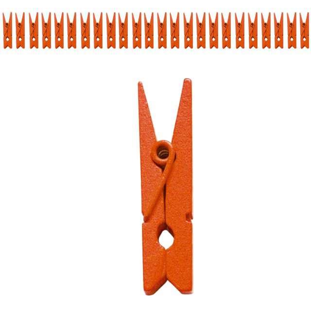 Klamerki drewniane 2,5 cm, pomarańczowe, SANTEX, 24 szt