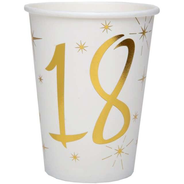"""Kubeczki papierowe """"18 Urodziny - Gold"""", SANTEX, 250 ml, 10 szt"""