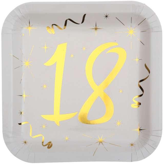 """Talerzyki papierowe """"18 Urodziny - Gold"""", białe, SANTEX, 23 cm, 10 szt"""