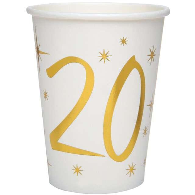 """Kubeczki papierowe """"20 Urodziny - Gold"""", SANTEX, 250 ml, 10 szt"""