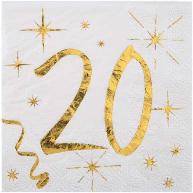 """Serwetki """"20 Urodziny - Gold"""", SANTEX, białe, 25 cm, 20 szt"""