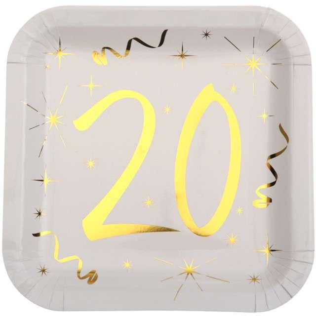 """Talerzyki papierowe """"20 Urodziny - Gold"""", białe, SANTEX, 23 cm, 10 szt"""