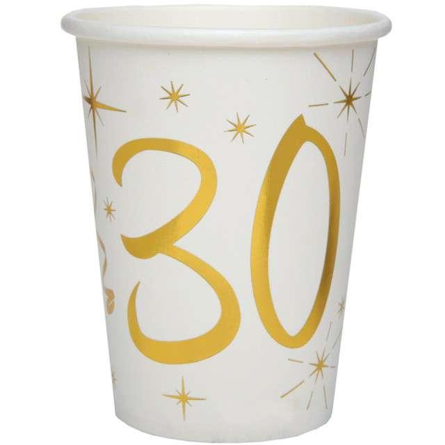 """Kubeczki papierowe """"30 Urodziny - Gold"""", SANTEX, 250 ml, 10 szt"""