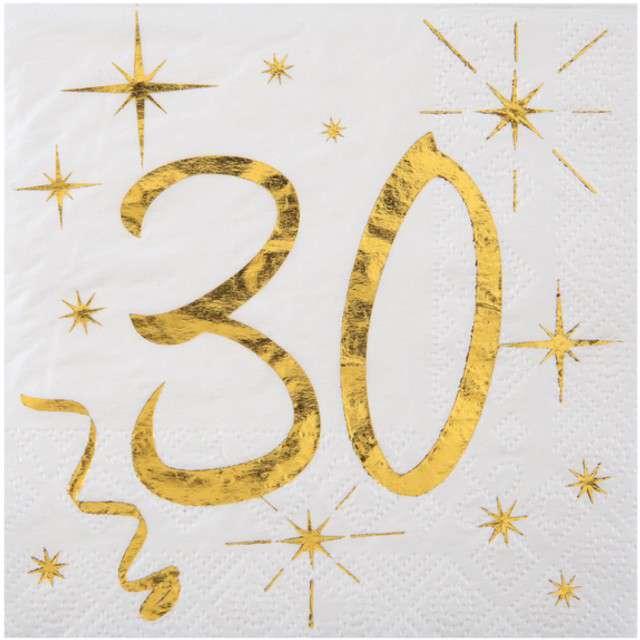 """Serwetki """"30 Urodziny - Gold"""", SANTEX, białe, 25 cm, 20 szt"""
