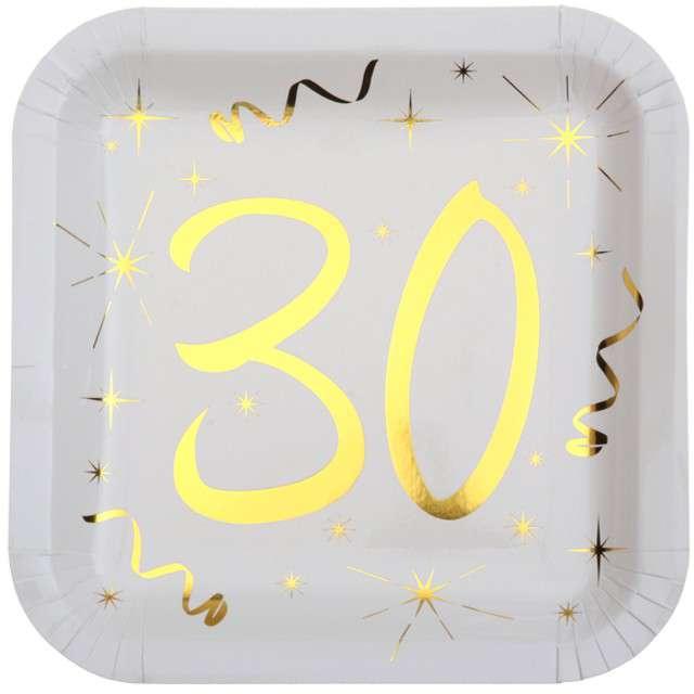 """Talerzyki papierowe """"30 Urodziny - Gold"""", białe, SANTEX, 23 cm, 10 szt"""