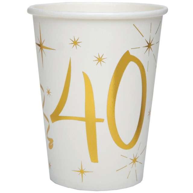"""Kubeczki papierowe """"40 Urodziny - Gold"""", SANTEX, 250 ml, 10 szt"""