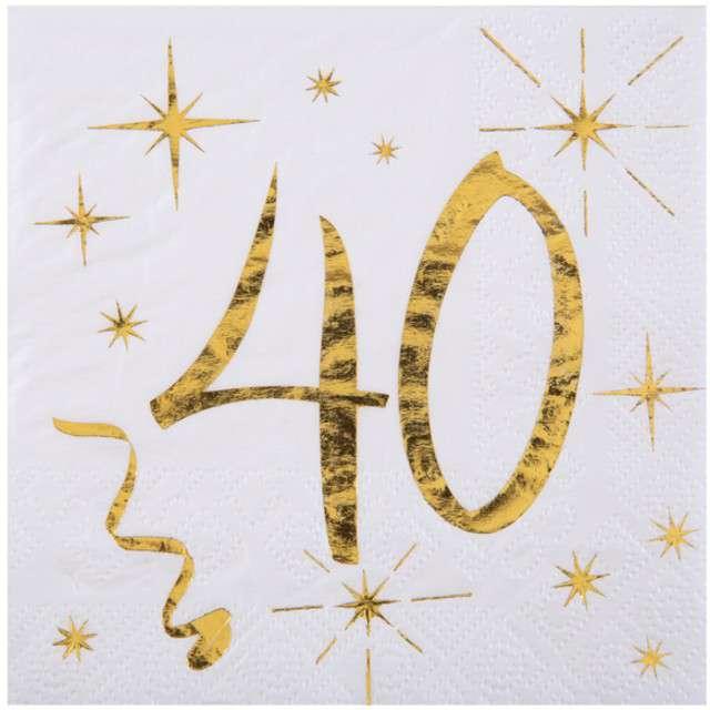 """Serwetki """"40 Urodziny - Gold"""", SANTEX, białe, 25 cm, 20 szt"""