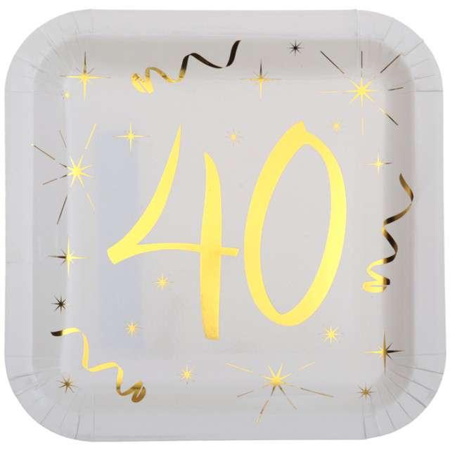 """Talerzyki papierowe """"40 Urodziny - Gold"""", białe, SANTEX, 23 cm, 10 szt"""