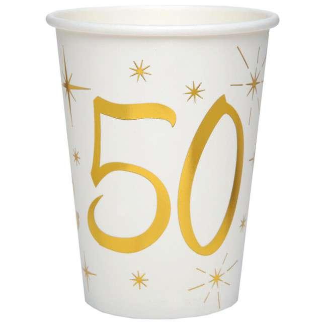 """Kubeczki papierowe """"50 Urodziny - Gold"""", SANTEX, 250 ml, 10 szt"""