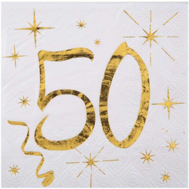 """Serwetki """"50 Urodziny - Gold"""", SANTEX, białe, 25 cm, 20 szt"""