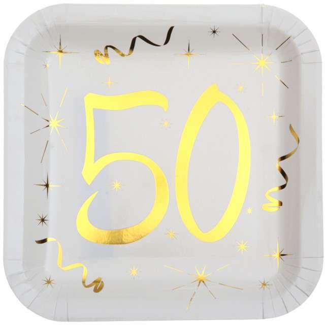 """Talerzyki papierowe """"50 Urodziny - Gold"""", białe, SANTEX, 23 cm, 10 szt"""