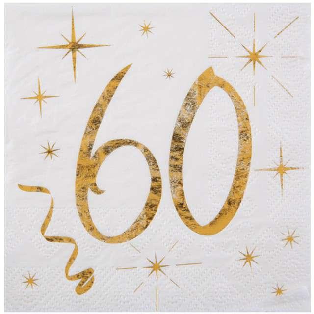 """Serwetki """"60 Urodziny - Gold"""", SANTEX, białe, 25 cm, 20 szt"""