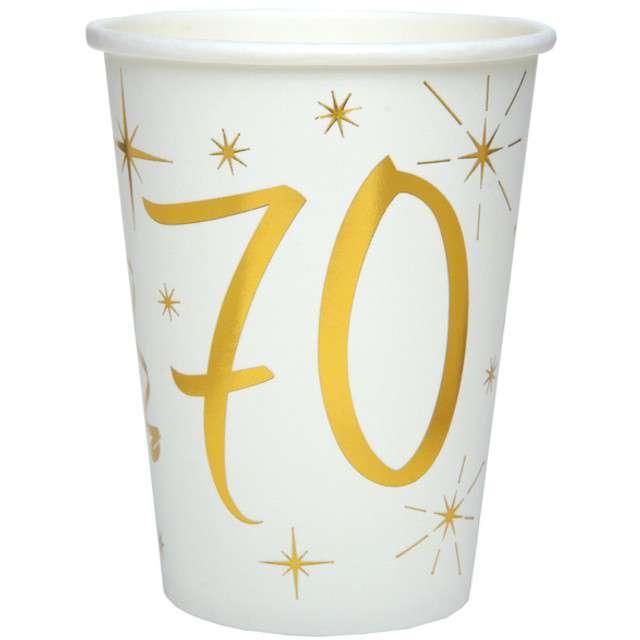 """Kubeczki papierowe """"70 Urodziny - Gold"""", SANTEX, 250 ml, 10 szt"""