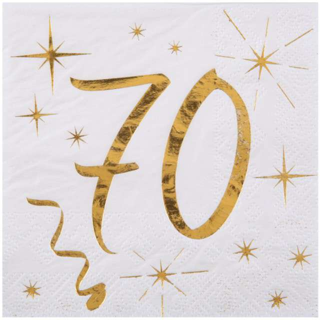 """Serwetki """"70 Urodziny - Gold"""", SANTEX, białe, 25 cm, 20 szt"""