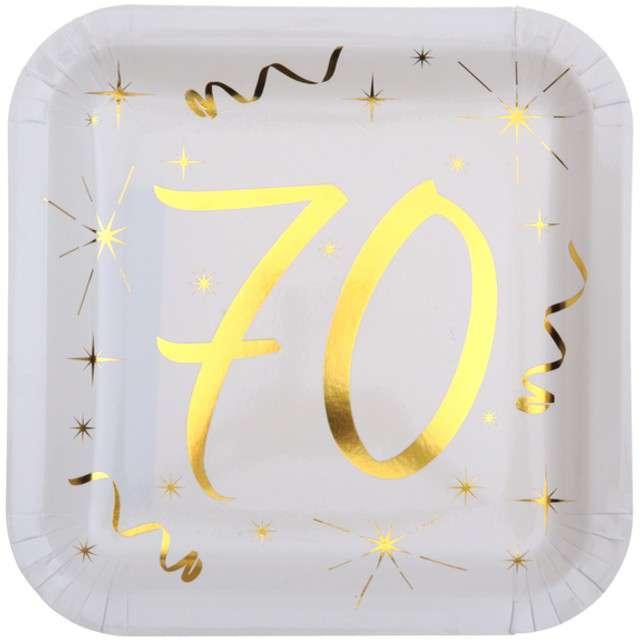 """Talerzyki papierowe """"70 Urodziny - Gold"""", białe, SANTEX, 23 cm, 10 szt"""