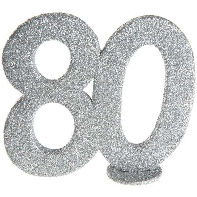 Dekoracja 80 Urodziny SANTEX srebrna 115cm