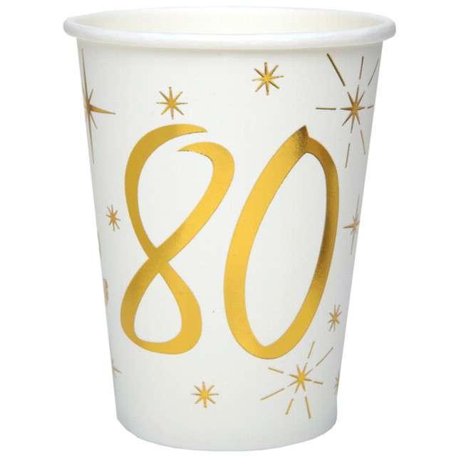 """Kubeczki papierowe """"80 Urodziny - Gold"""", SANTEX, 250 ml, 10 szt"""
